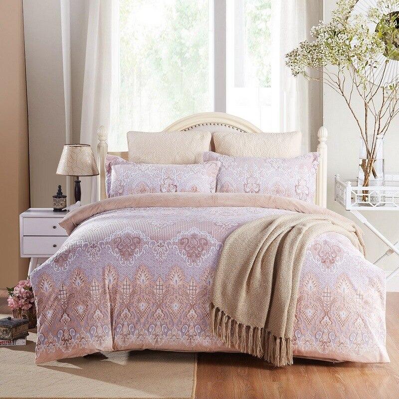 2018 3D impresso conjunto de cama de Flanela de Alta qualidade e simples e Coral fleece capa de edredão roupa de cama conjuntos - 4