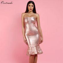 Ocstrade Sexy 2018 Rose Gold Foil Printed Mesh Insert Women Mermaid Bandage  Dress 23a7bb96d770