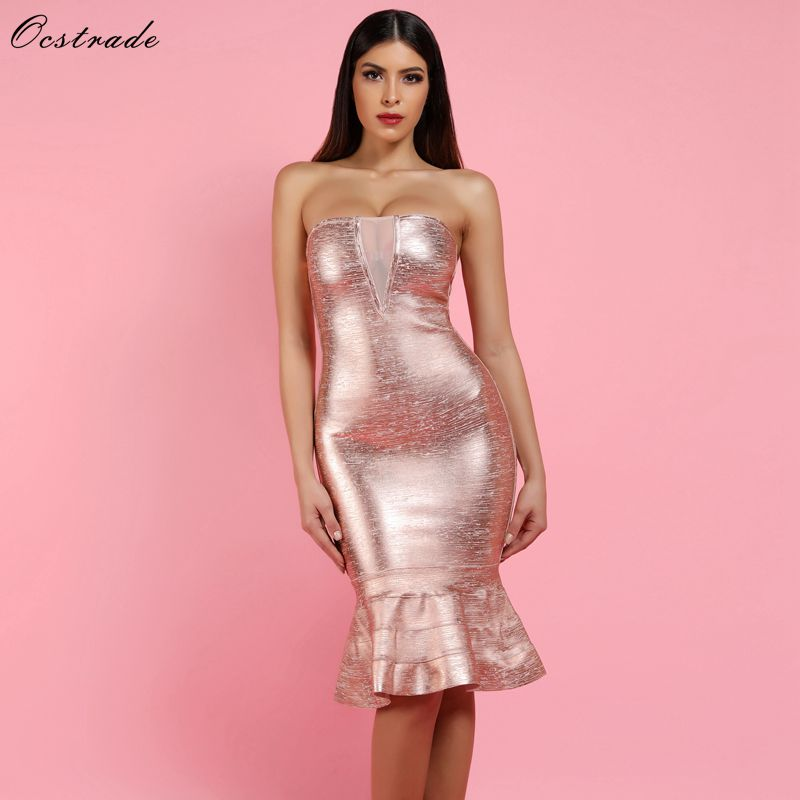 Ocstrade Sexy Bandage robe 2019 nouvelle feuille d'or Rose imprimé Bandage robe maille insérer femmes sirène sans bretelles Bandage robe