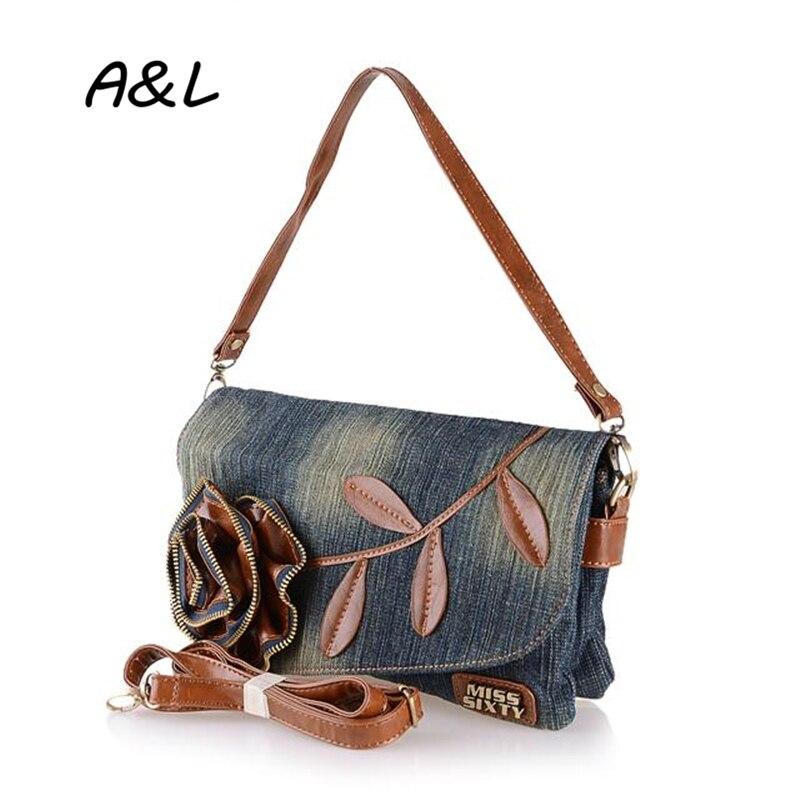 Vintage Fashion Women Shoulder Messenger Bags Girls Denim Small Crossbody Bag Lady Flower Clutch High Quality Dollar Price A0121