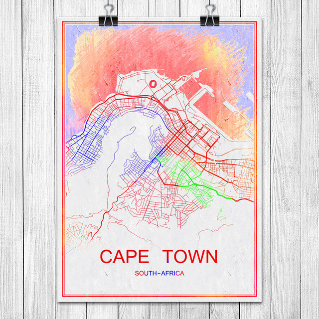 Capetown south africa colorful world city map print poster abstract capetown south africa colorful world city map print poster abstract coated paper bar pub living room gumiabroncs Choice Image