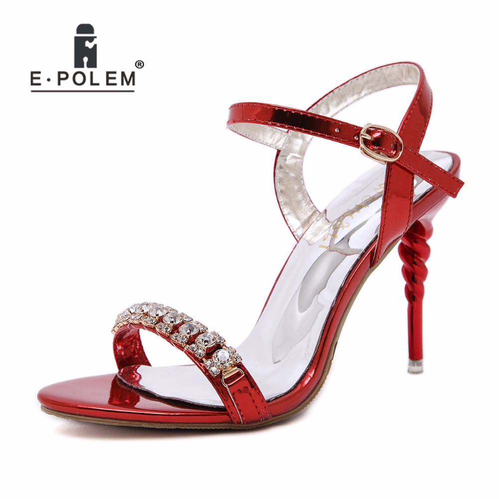 Hinten 2018 amp; Strap Erwachsene Dünne Sandalen Kristall High rot Frauen Gold Sommer Sexy Heels Fersen silber Vorne Silber Schuhe Red APACq