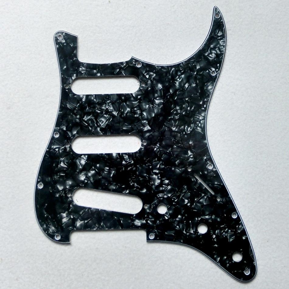 diy guitar parts 11 holes sss black pearloid us standard st guitar pickguard with mounting. Black Bedroom Furniture Sets. Home Design Ideas