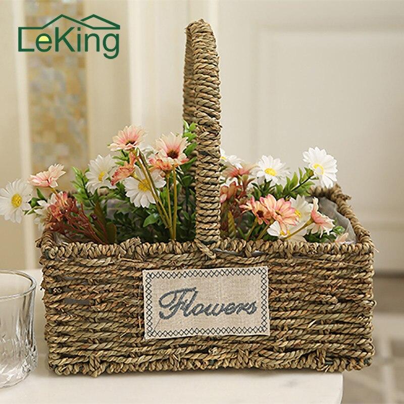 Straw Woven Storage Pot Garden Flower Vase Hanging Basket w Handle Brown S