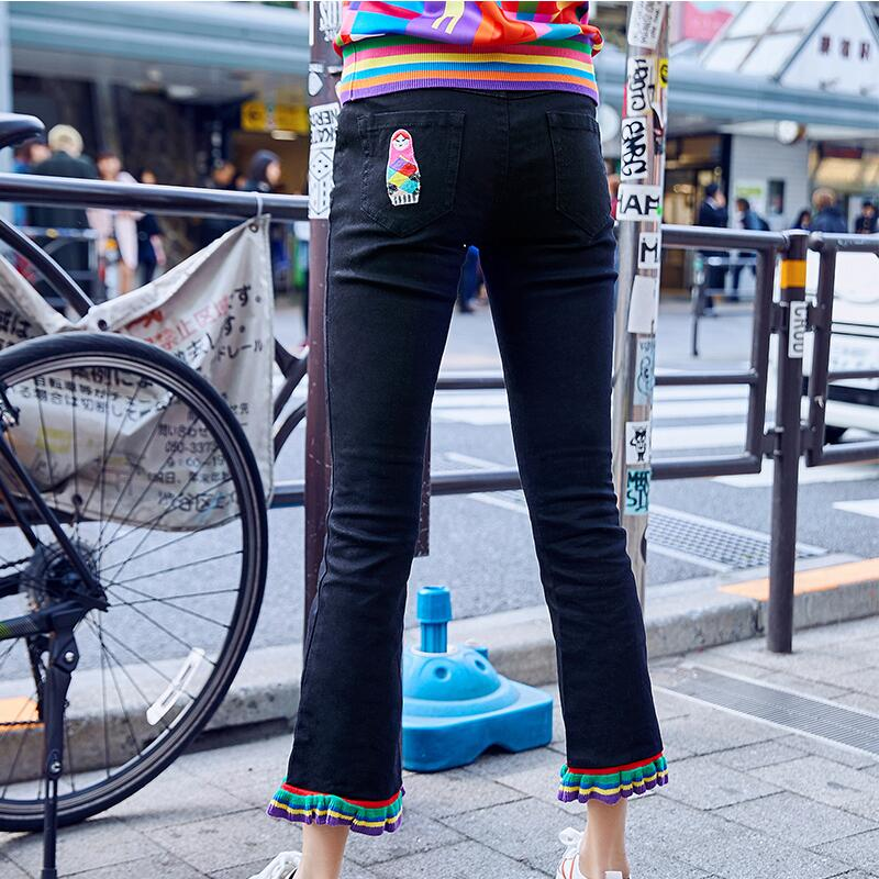 Jeans Mujeres Black De Primavera Flare Bordado 2019 Pantalones Denim Slim Uq8wPq0