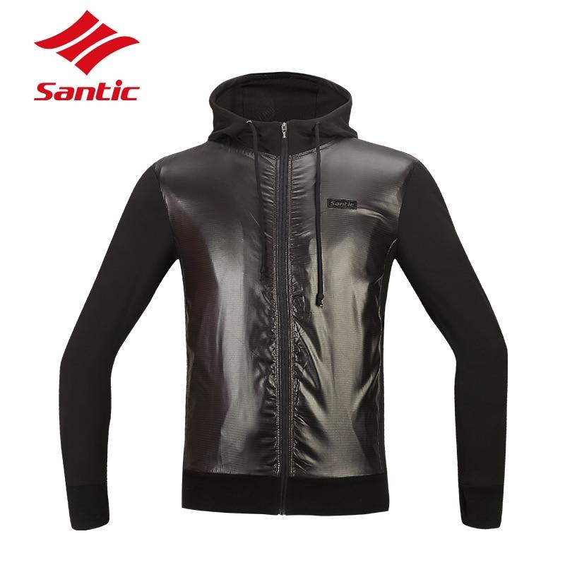 Santic Mens Cycling Fleece Jackets Winter Thermal Windproof MTB Bike Jacket Coat Keep Warm Black Cycling Clothings Asian S-3XL monton 1019 ultrathin cycling polyester fiber jacket black size s