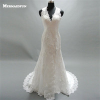 2017 Mermaid V Neck Side Slit Ren Appliques Beaded Sexy Mở Lại Vintage Wedding Dresses Wedding Gown