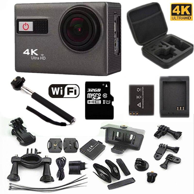 """экшн-камеры 4 к С 24fps беспроводной доступ в интернет 2.0 """"экран 170 углов регулируемым экстрим идти про спортивный стиль камеры 30 м водонепроницаемый идти про камеры"""