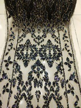 Pretty design Glued glitter sequins lace trim black mesh african lace fabric  for wedding  evening 653633b9fb0c