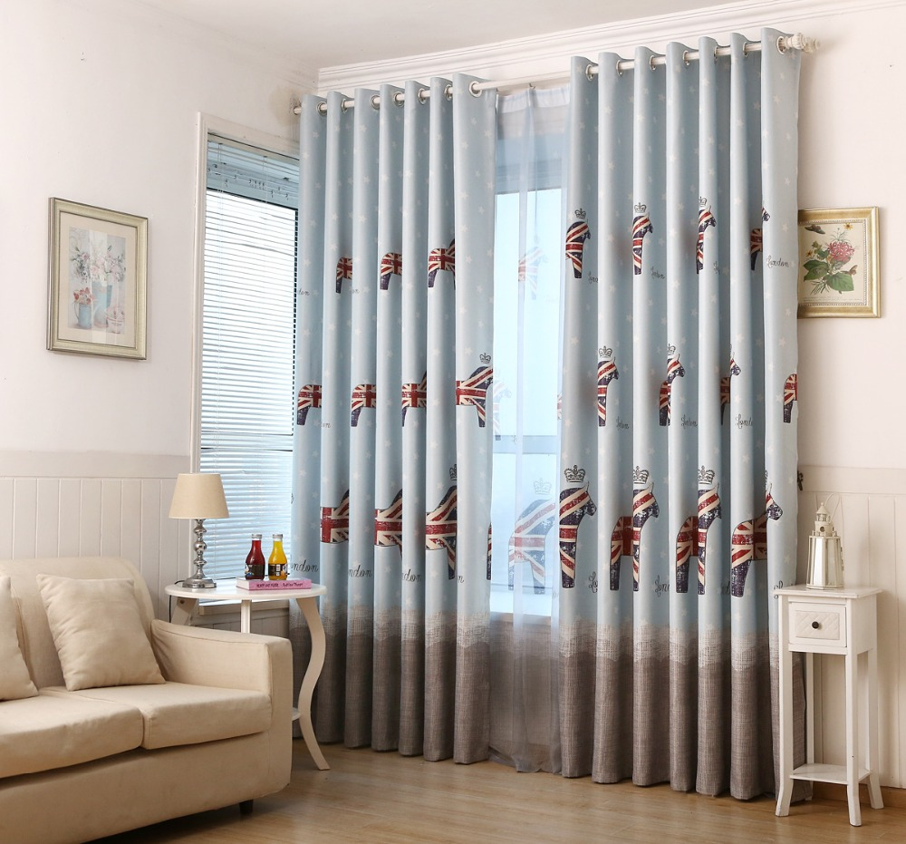 All products bedroom bedroom decor window treatments curtains - 2016 American Style Cartoon Cute Pony Fabric Children Kids Curtains For Living Room Bedroom Window Shade Cloth For Bay Window