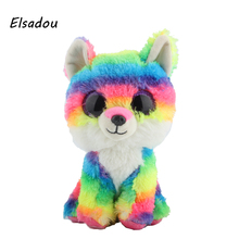 Elsadou Ty Beanie Boos Cute Animals Colorful Fox Plush font b Toy b font Doll Christmas