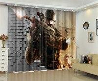 Schieten game Venster Blackout Luxe 3D Gordijnen set Voor Bed woonkamer Kantoor Hotel Thuis Muur Decoratieve Drape tapestry