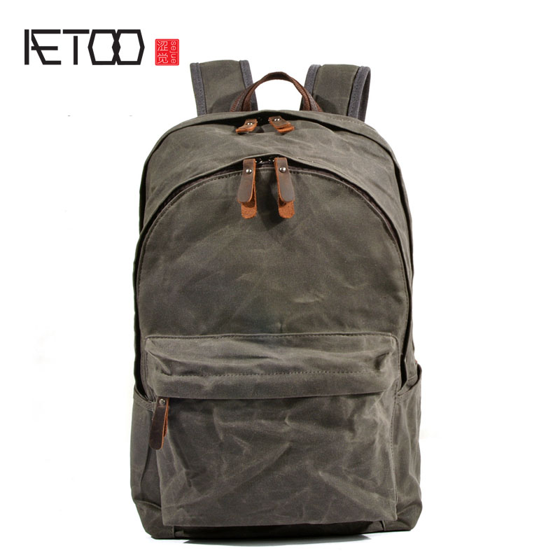 AETOO Cloth bag lady oil wax canvas bag retro backpack large capacity backpack men's mountaineering bag стоимость