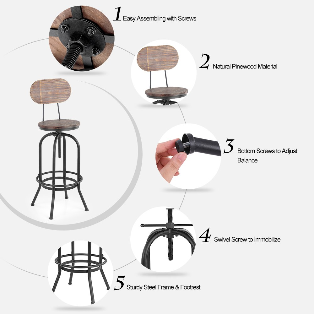 Wondrous Us 49 26 45 Off Ikayaa Industrial Style Bar Stool Height Adjustable Swivel Cafe Chair Pinewood Top Metal With Backrest Bar Cafe Furniture In Bar Onthecornerstone Fun Painted Chair Ideas Images Onthecornerstoneorg