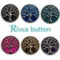 D00158 Atacado 20pcslot 6 Pintura A Óleo Da Árvore Da Vida De Metal Rivca Botão Snap Pulseira Para As Mulheres 18mm Charme Snap botão Jóias