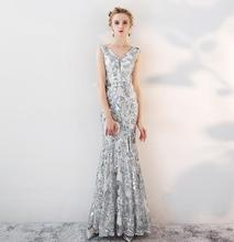 Spaziergang Neben Sie Gold Abendkleider vestido longo Schwarz Silber V-ausschnitt  Sexy High Split Prom Kleider Lange Formale Kle. 0297a4384d