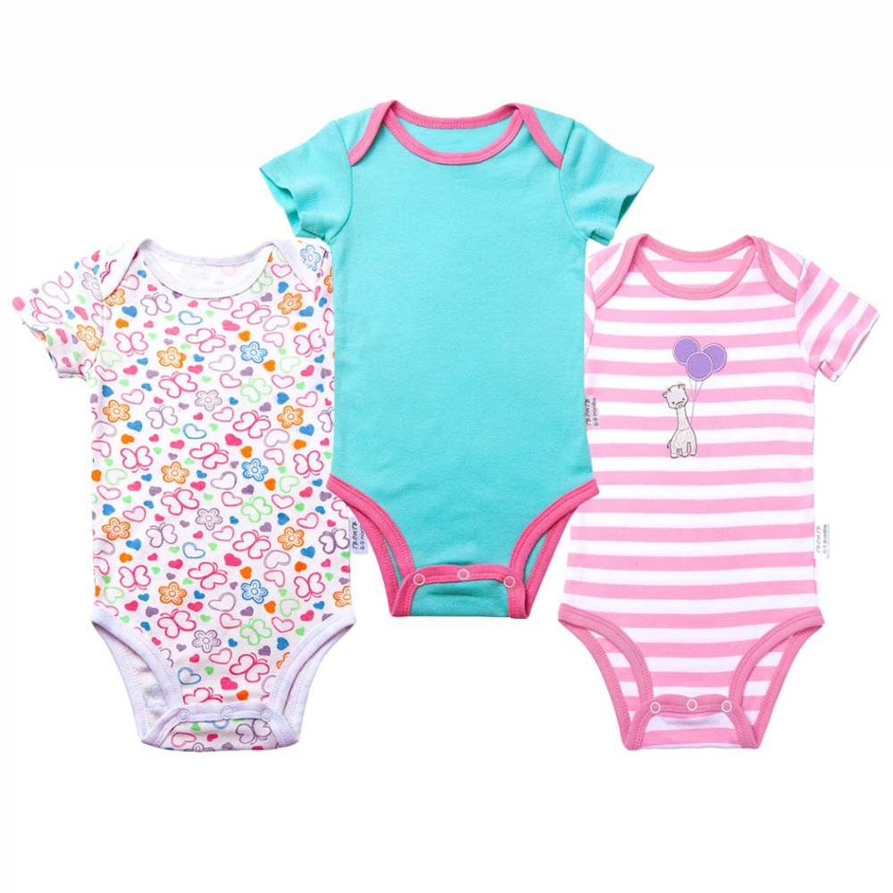 3 pcs/Lot Baby Boy Bodysuits Short Sleeves Boy and Girl Clothes Summer Infant Jumpsuit Body Suit for Newborn Baby Clothing Set