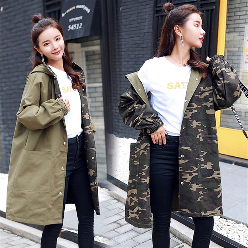 Plus Size Spring Harajuku BF Camouflage Windbreaker Female Loose Hooded 2018 Autumn Winter Long Trench Coats Women Two Sides N19