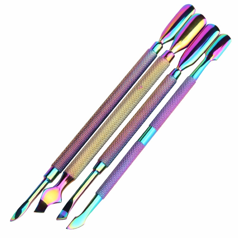 Stainless Steel Dual-ended Chameleon Rainbow Cuticle Pusher Finger Remover Dead Skin Tips Manicure Nail Art Care Tools Pedicure