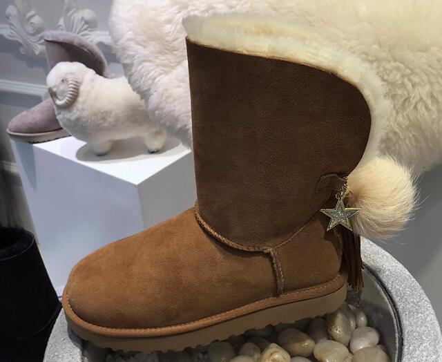 top quality brand women snow boots genuine leather fur boot shearling wool leather fur boots fringe great quality 35-40 wool boots fur and leather boots