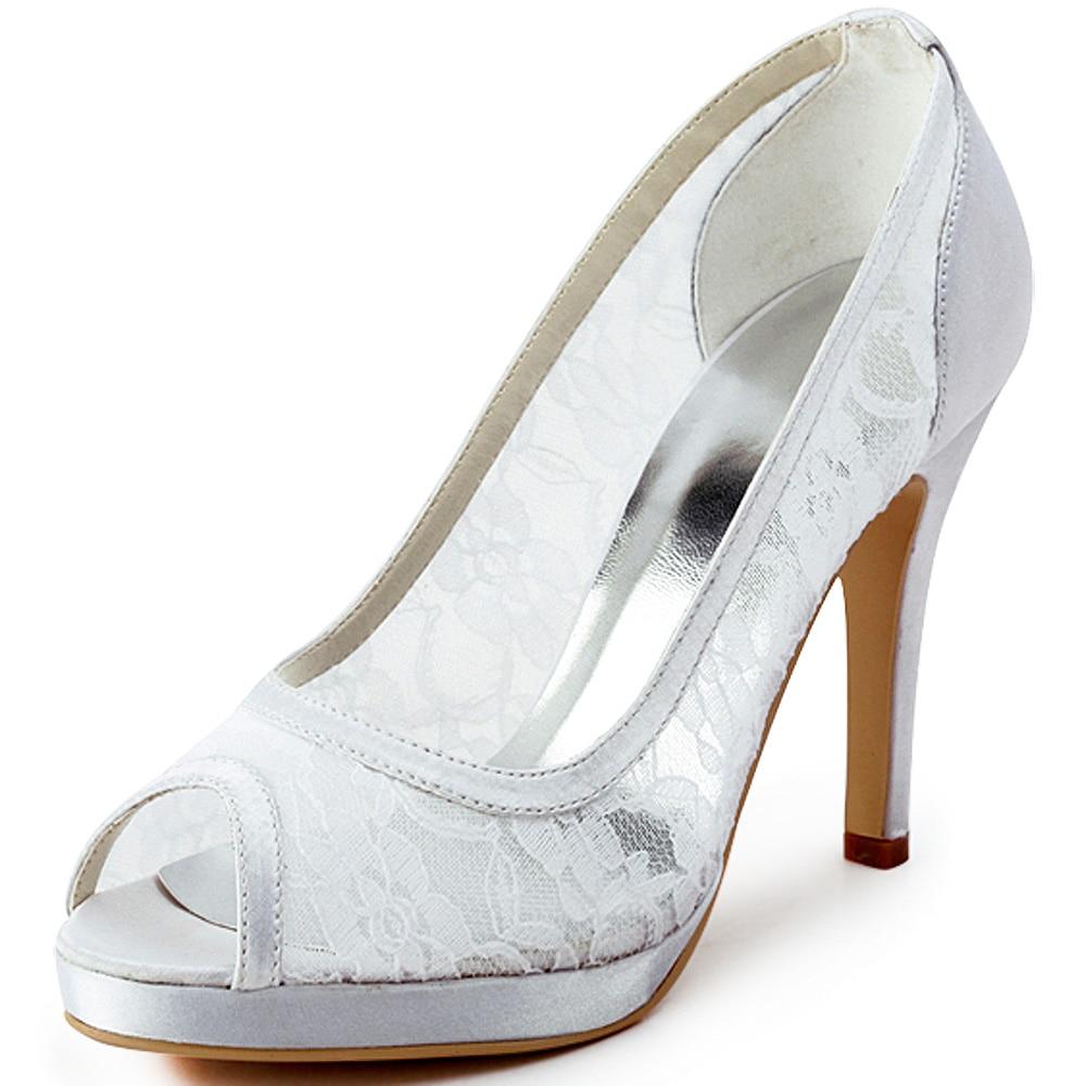 978853d6dd125 أزياء النساء الأحذية EP11084-PF الأبيض المساء الزفاف حزب مضخات اللمحة تو  تقطيع منصات سيدة الدانتيل أحذية الزفاف