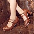 Плюс размер 34-45 Новый стиль весной и летом моды женская обувь высокий каблук насосы платформы женщин оксфорды обувь женский X-3
