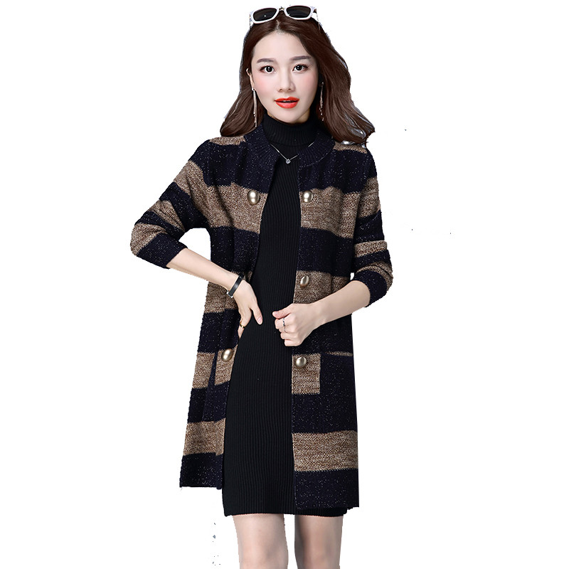 New Fashion 2018 Autumn Outerwear Women Long Sleeve Striped Printed Cardigan Casual Patchwork Knitted Sweater Plus Size 4XL P141