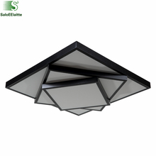 Moderno Simple Cuadrado de Metal Llevó La Lámpara de Techo de Acrílico Capa de Máscara 3 Llevó la Luz de Techo Para El Dormitorio Iluminación Interior