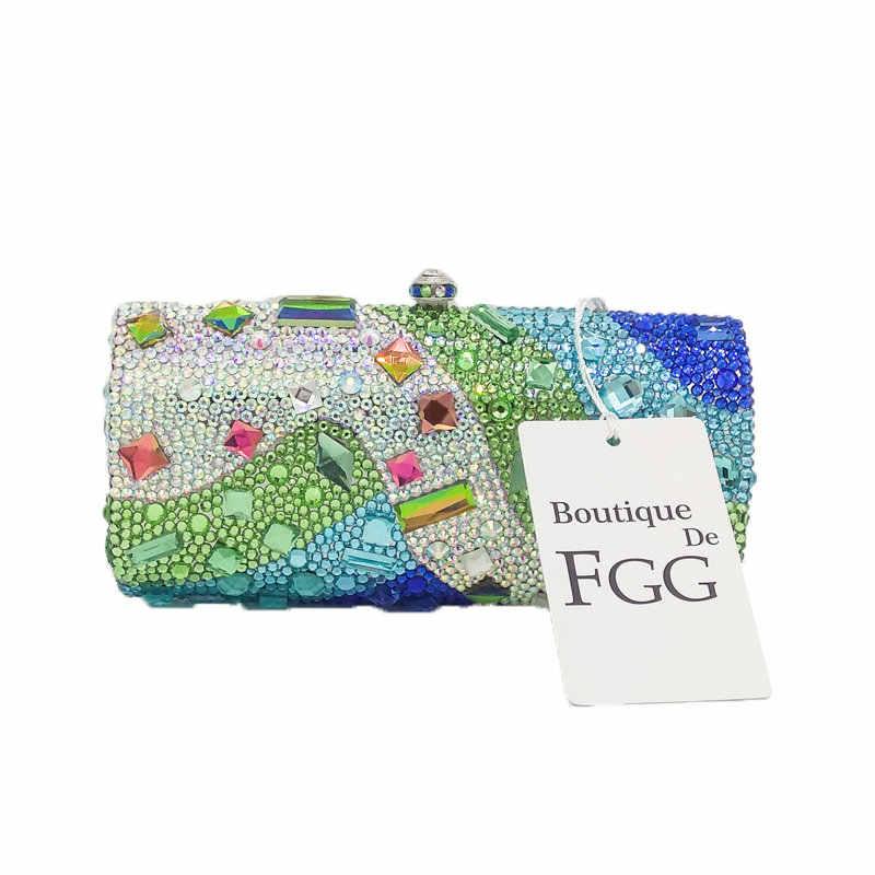 Boutique De FGG Multi verde mujeres cristal noche embrague monedero duro Metal Minaudiere bolso nupcial boda fiesta bolso