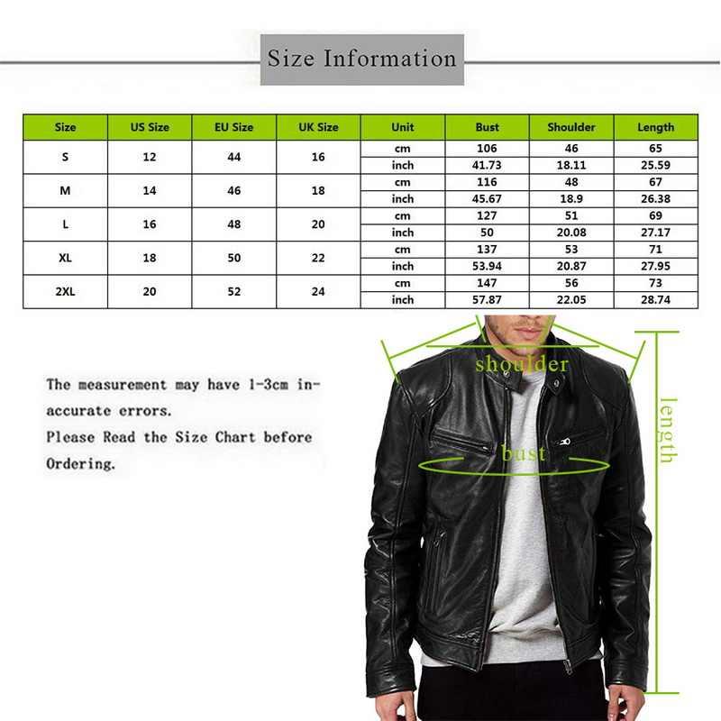 MJARTORIA 2019 プラスサイズのレザージャケット男性秋長袖スタンドカラージャケット冬ジッパーパッチワークフェイクレザーコート