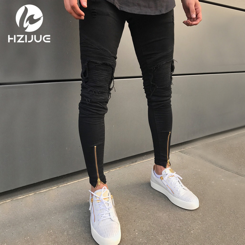 2018 HZIJUE mens designer clothes denim jumpsuit mens   jeans   pants korean rock stretch moto distressed ripped skinny   jeans   men