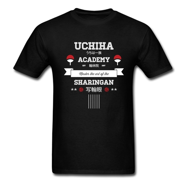Long Streetwear T-shirts Making men Naruto Shirts with Uchiha Academy Mens