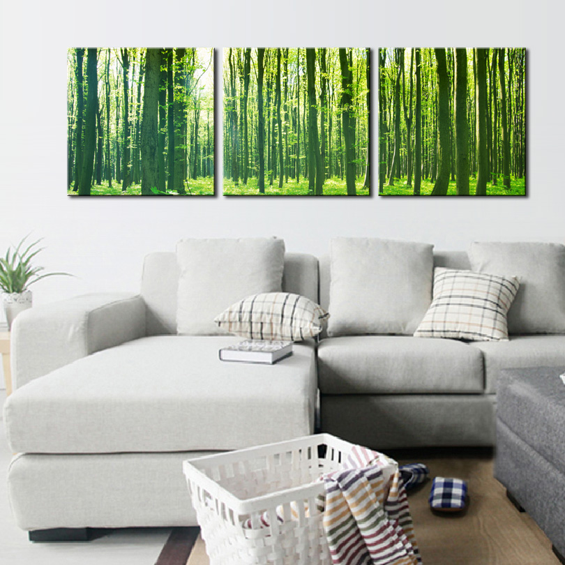 3 Panel Green Forest Painting Nature Landscape Canvas Wall