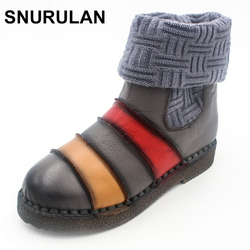 SNURULAN Knitting Ankle Boots Genuien Leather 2017 Winter Platform Female Vintage Snow Boots Retro Handmade Women Warm Shoes serene handmade winter warm socks boots fashion british style leather retro tooling ankle men shoes size38 44 snow male footwear