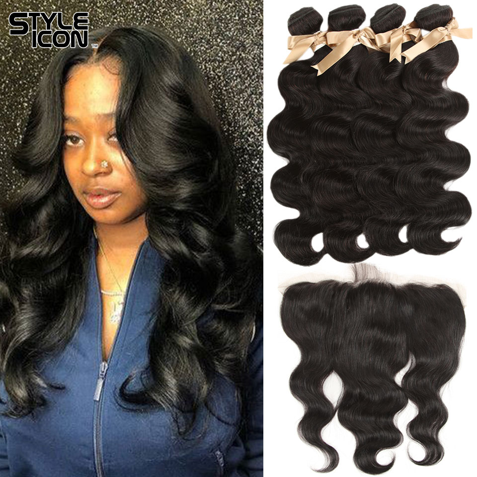 Styleicon Brazilian Body Wave With Closure 13X4 Lace Frontal Body Wave 4 Bundles With Closure Human Hair Bundles With Frontal