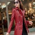 Mulheres Jaqueta de couro Top Fashion New Plus Size Senhoras Removíveis Falso Couro Longo Trench Coat Feminino CT014