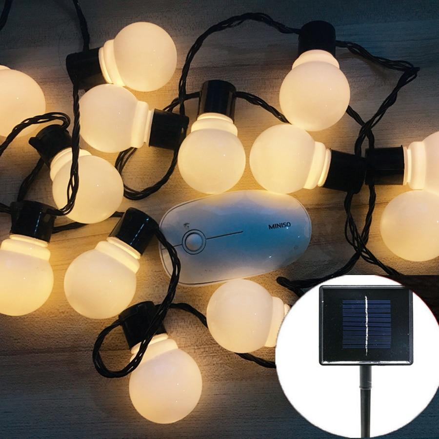Thrisdar 10 30 LED Globe Solar String Light Garland Fairy Light Festoon Globe Ball Party Wedding Garden Patio String Garland