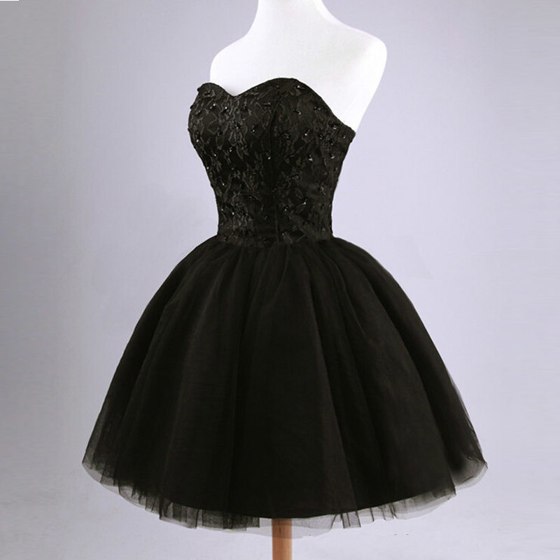 2019 New arrival elegant women short prom dress black lace up princess sweetheart beading fashion women