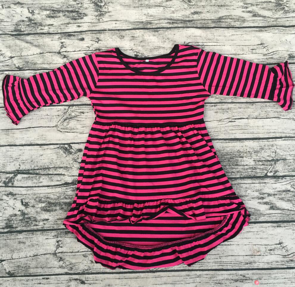 2017 Baby Girl 3/4 Sleeves pink and black Striped Party Frocks Designs Dress wholesale