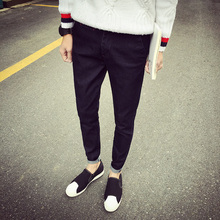 Autumn Jeans Jeans Mens pure Korean male slim Denim Long pants and winter cashmere thickened male
