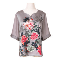 Girls Floral Print Breathable Silk Summer Shirts Grey Womens Tops and Blouses Chinese Style Feminine Plus Size Ethnic Blouse 4xl