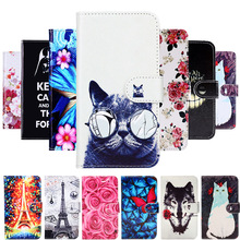 Akabeila Cartoon Painting PU Leather Cases For Alcatel 1 Case 5033D 5033 5033A 5033Y 5033X Magnetic Flip Wallet Cover Bags Shell