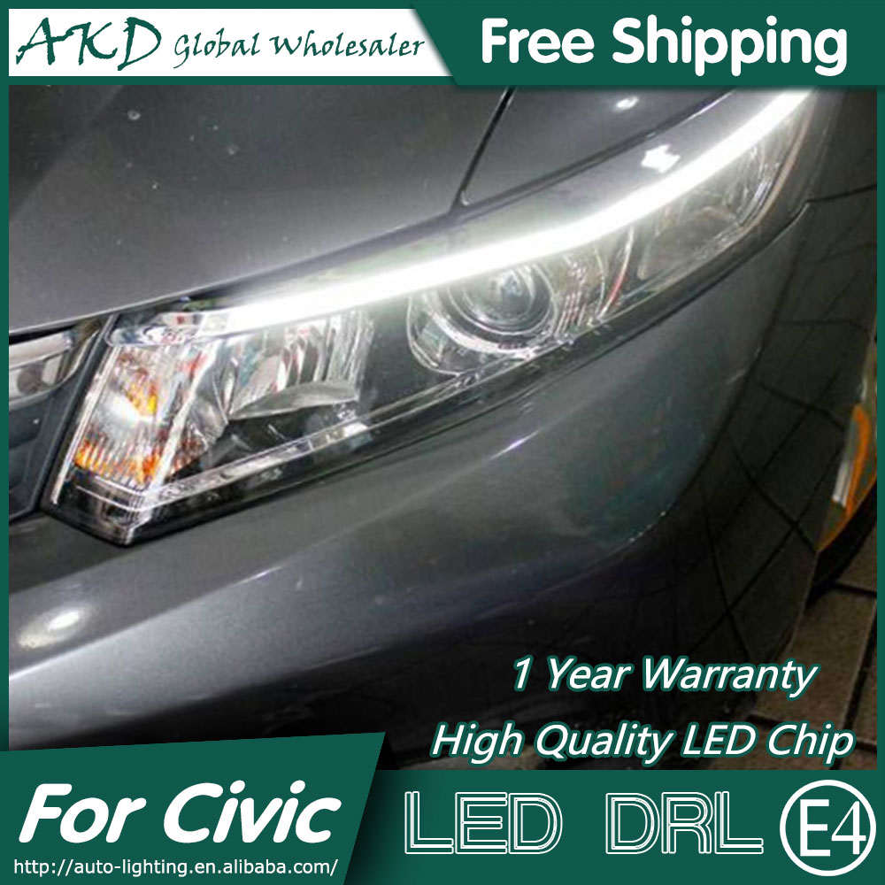 AKD Car Styling LED DRL for Civic 2012-2015 New Civic Eye Brow Light LED External Lamp Signal Parking Accessories akd car styling led drl for kia k2 2012 2014 new rio eye brow light led external lamp signal parking accessories