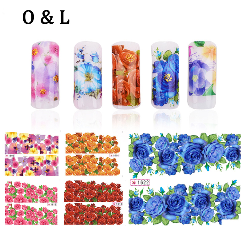 12pcs Hot Flowers Water Transfers font b Nail b font Stickers Decals font b Nail b