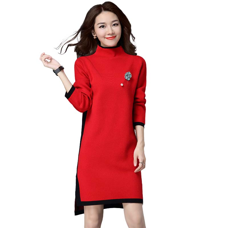 Fashion all match women knitted dress splicing elegance front short back long stand collar comfortable lady long sweater HM1011