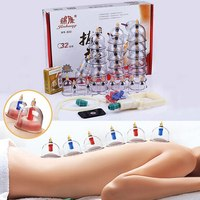 Cheap 32 Pieces Cans cups chinese vacuum cupping kit pull out a vacuum apparatus therapy relax massagers curve suction pumps hot