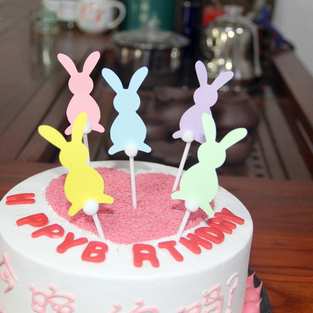 5Pcs Set Candy Rabbit Baby Shower For Girls Happy Birthday Cake Topper Wedding Party