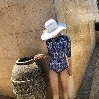 One Piece Rash Guards Mayo Girl Swimwear Swimsuits For Women Closed Blue White Swimsuit Animal Spandex Sierra Surfer