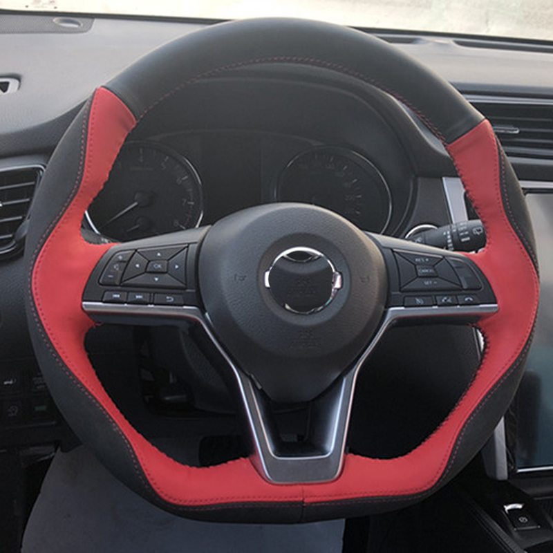 Top Layer Leather+Micro Fiber Leather Handmade Sewing Steering Wheel Covers Protect For Nissan X-TRAIL Kicks