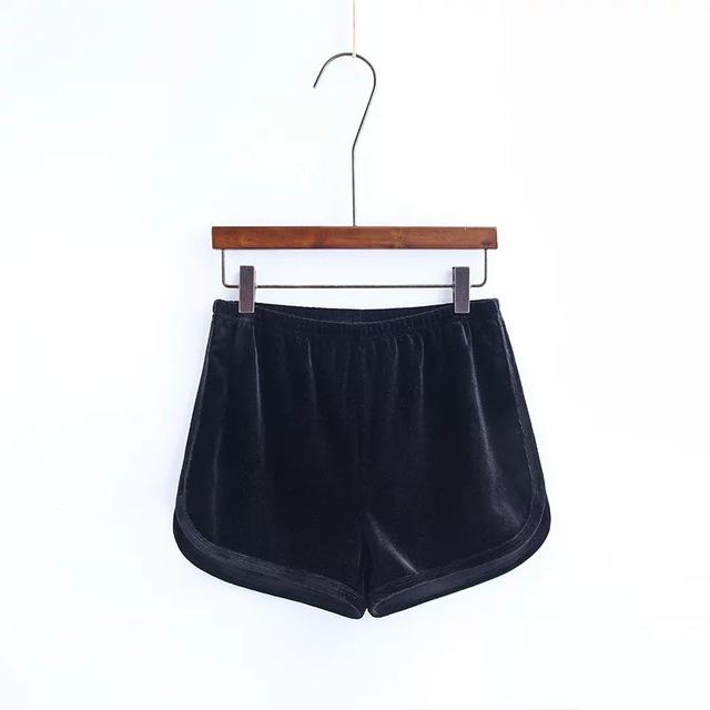 Shorts Mujeres 2017 Verano de La Cintura Elástica de Terciopelo Mujeres Shorts con Cintura Alta Recta Ocasional Pantalones Cortos de Color Sólido para Las Mujeres